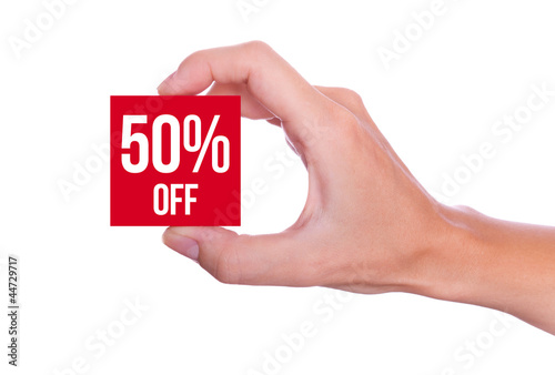 50 Percent off symbol handheld isolated on white background