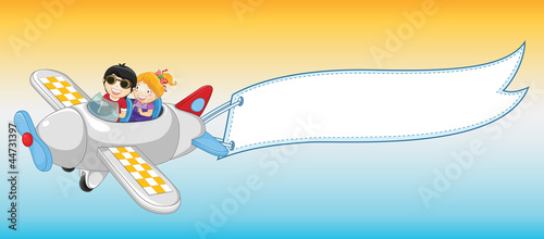 Plane banner vector illustration