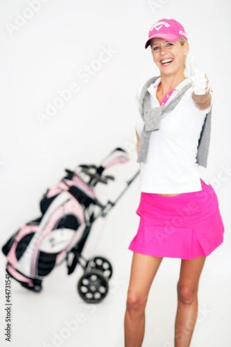 canvas print picture Frau beim Golfen
