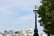 street lamp with london in background