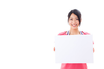 a beautiful asian woman showing blank whiteboard