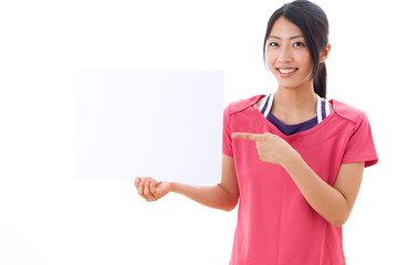 a beautiful asian woman showing blank whiteboard