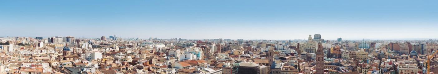 Panoramic view of the roofs of Valencia, Spain.