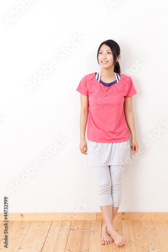 a beautiful asian woman relaxing