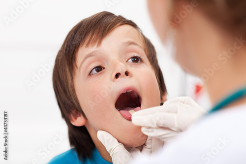 Say aaah - little boy at the doctor