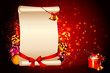 white sign with red background and gift box