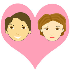 ハートマークとカップルの顔のイラスト