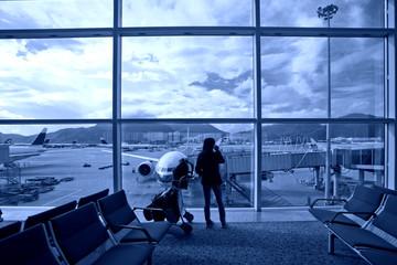 Hong Kong International Airport, waiting for planes travelers