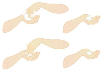 スキンケア用手4種(泡だて・混ぜる・化粧水・クリーム)