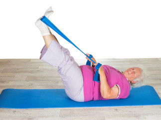 Retired lady doing exercises