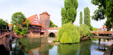 Panoramic view of medieval riverside architecture, Nuremberg