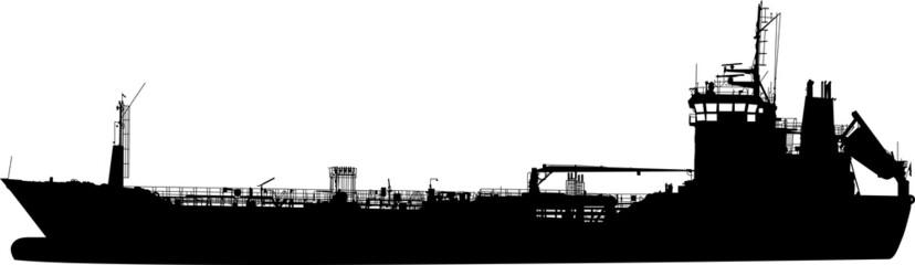 Silhouette of the sea tanker ship