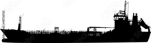 Silhouette of the sea tanker ship