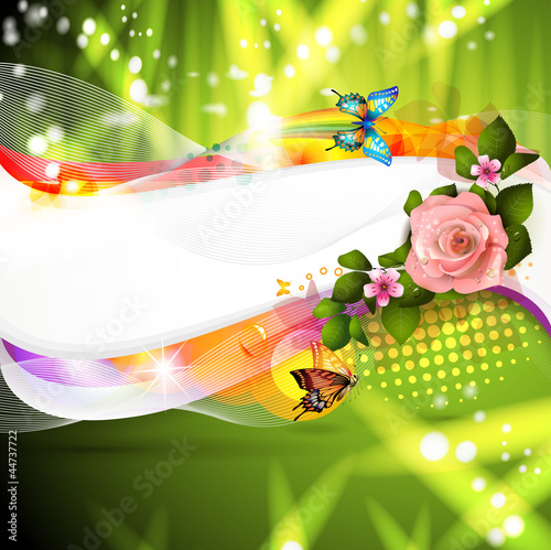 Colorful abstract background with rose and butterflies