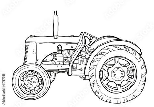 Line Drawing Tractor : Quot tractor vintage line art stock photo and royalty free