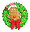 Whimsical Cartoon Christmas Wreath with Gingerbread Man