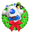 Whimsical Cartoon Christmas Wreath with Polar Bear