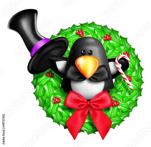 Whimsical Cartoon Christmas Wreath with Penguin