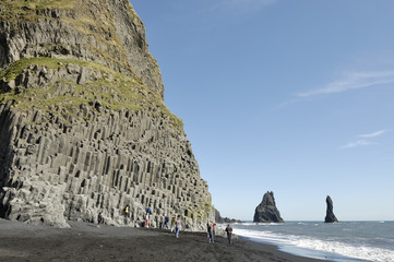 Basalt rock at volcanic beach in Iceland.