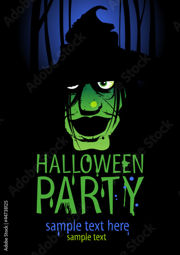 Halloween Party Design template with witch and place for text.