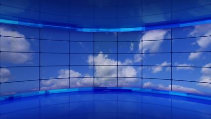 clouds on screens in blue virtual studio loop
