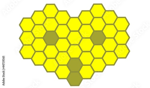 The stylized bee head of a honeycomb