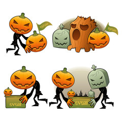 Halloween Day Pumpkin Dreary Illustrations