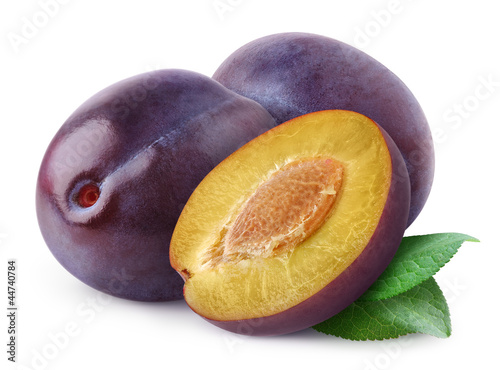 Fresh plums isolated on shite