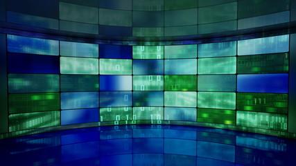 IT high-tech background on screens in virtual studio loop