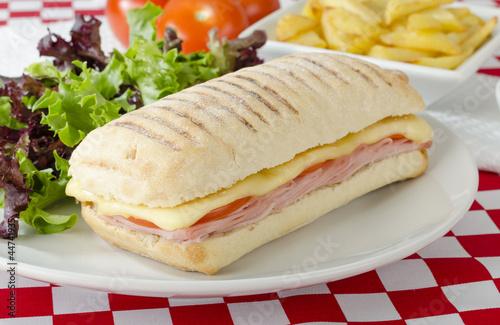 Papiers peints Snack Ham & Cheese Toastie: Cheese, ham & tomato panini. Fries & Salad