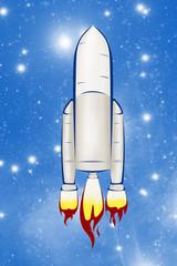 Rocket ship isolated on sky background