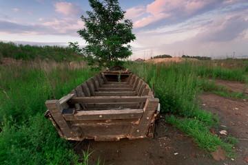 岸上树边的废弃木船