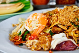 Thai fried noodle or Padthai with prawn and squid