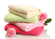 bright towels and roses isolated on white