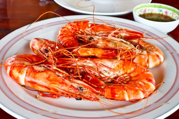 Thai seafood; steamed prawns with spicy sauce