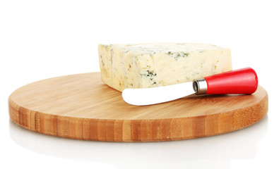 Cheese with mold and knife