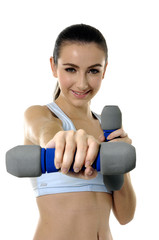 beautiful woman exercising with weights