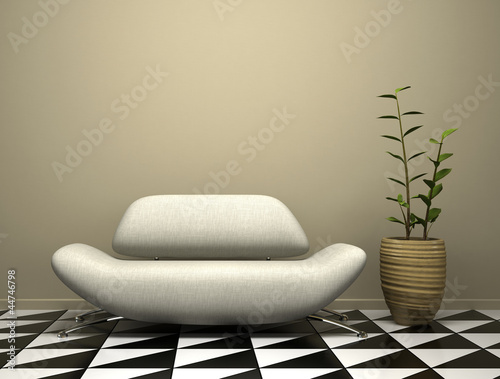 Part of the modern interior with sofa and plant
