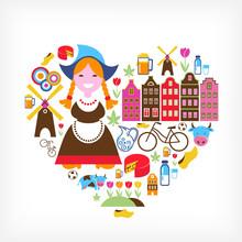 Serce z niderlandzkich ikon wektorowych