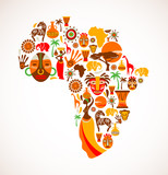 Fototapety Map of Africa with vector icons