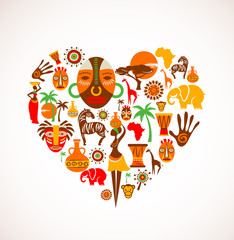Heart with Africa vector icons