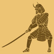 A samurai in carved style illustration