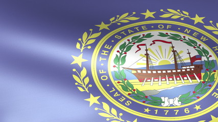New Hampshire State Flag Waving