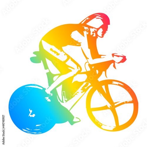 Pop art illustration of a cyclist