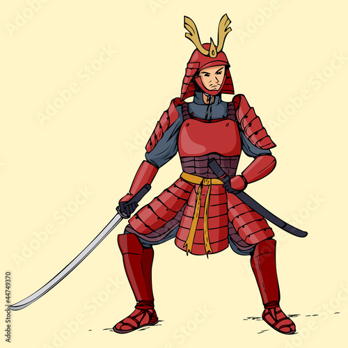 Illustration of an armored samurai