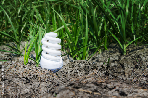 light bulb between drought land and green grass