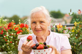 Elderly woman with berries