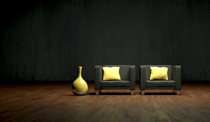 schwarze Sessel mit Vase