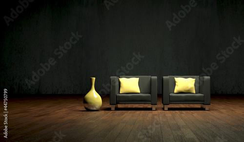 canvas print picture schwarze Sessel mit Vase