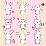 Collection of funny and cute happy kawaii rabbits. poster